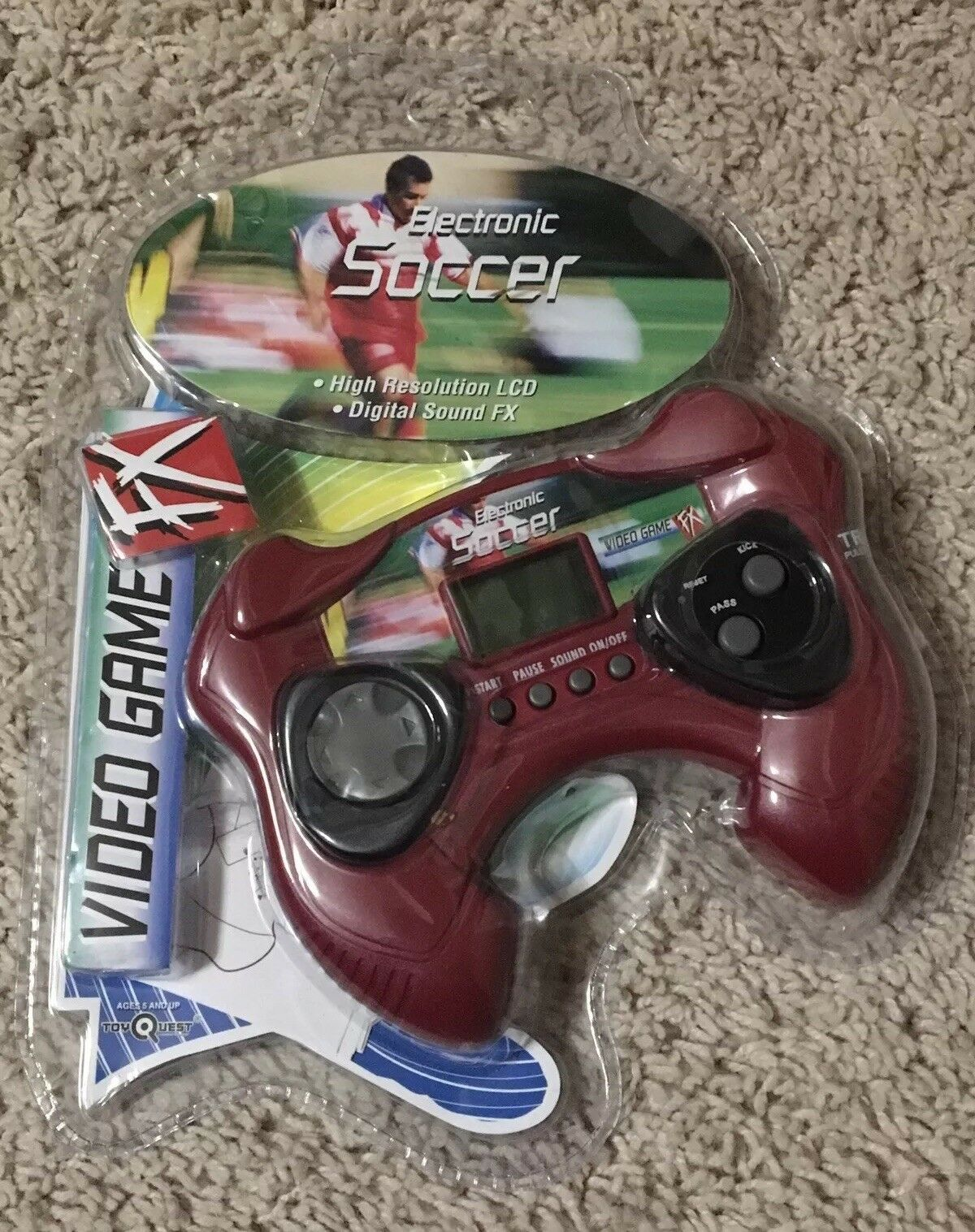 NEW Toy Quest Electronic Soccer Handheld Video Game LCD FX Red