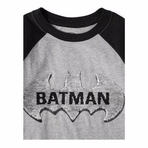 Details about  /DC Batman Boys Caped Crusader Flip Sequin Logo Short Sleeve Tee Shirt XXL 18