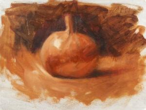 PUMPKIN-Still-Life-8x12-Original-Impressionist-Monochrome-Sepia-Oil-Painting-ART
