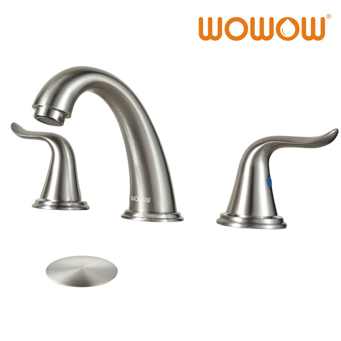 bathroom sink faucet 3 holes w/ overflow popup drain brushed nickel  widespread
