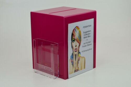 Poster Holder PDS9470A4 Dark Pink Suggestion Box Collection Box with Leaflet