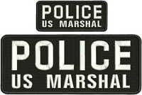 Police U.s. Marshal Embroidery Patch 4x10 & 2x5 Hook On Back