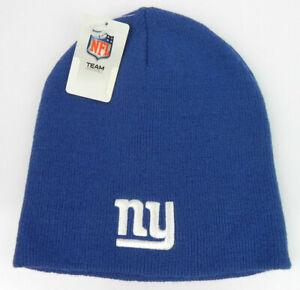 NEW-YORK-GIANTS-NFL-FOOTBALL-VTG-ROYAL-BLUE-KNIT-UNCUFFED-BEANIE-CAP-HAT-NEW