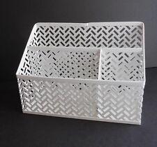 "White Finish Zigzag See-Through Metal Desk Organizer 3 Compartments 9""x4""x6"""