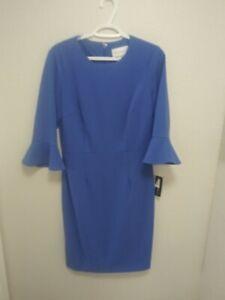 Donna-Morgan-Womens-Crew-Neck-Bell-Sleeve-Midi-Sheath-Dress-Black-Size-8