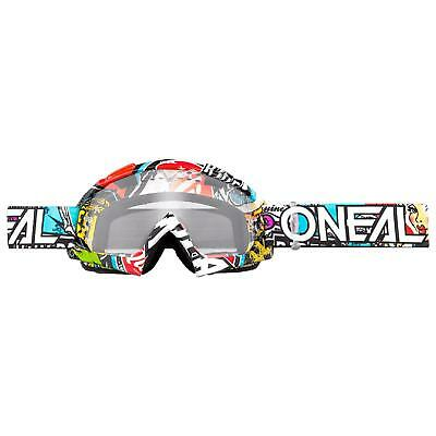 Colto Oneal B-10 Goggle Crank Occhiali Chiaro Moto Cross Downhill Mx Mtb Antifog-
