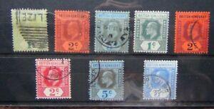 British-Honduras-KEVII-Range-1904-values-to-5c-1908-values-to-5c-Used-1908-1c-M