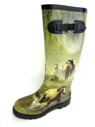 Great Price! X1023 Ladies Spoton Horse Design Rubber Wellington Boots