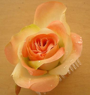 "3"" Peach, Cream, Dewdrop Rose Silk Flower Hair Comb, Wedding.Prom,Dance, Bridal"