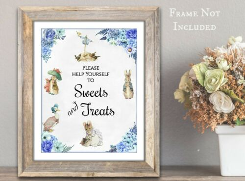 Frame Not Included Peter Rabbit /& Friends Blue /'Sweets /& Treats/'  A4 Card Sign