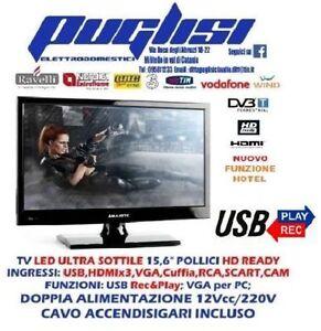 TV-LED-15-034-16-034-TELEVISORE-HD-T2-SAT-S2-CAMION-AUTO-CAMPER-12V-220V-CAVO-ACC-INCLU