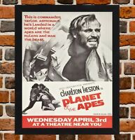 Framed Planet Of The Apes Movie Poster A4 / A3 Size In Black / White Frame.