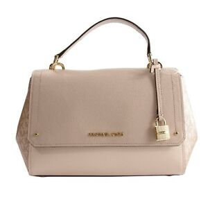 Michael-Kors-Hayes-Ballet-Leather-Rose-Gold-Signature-MD-Satchel-Crossbody-NWT