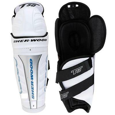 "Sherwood T50 ice hockey senior size shin guards 17"" white black new knee pads sr"