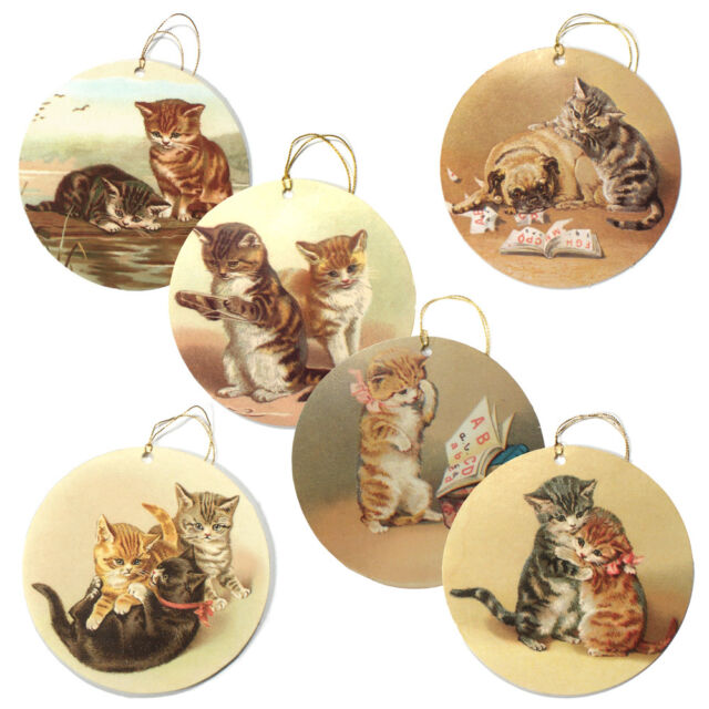 150 Victorian Cat Gift Tags Die Cut Strung With Metallic Gold Cord