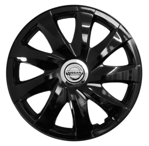 "14/"" Tapacubos De Rueda De Adornos Para Nissan Micra 4x14/'/' Negro"