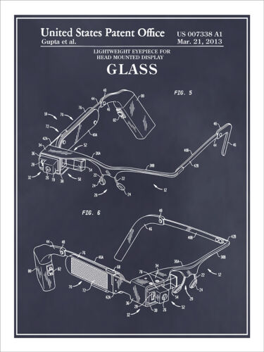 Google Glass Wearable Computer Patent Print Art Drawing Poster 18X24