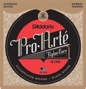 D-039-Addario-EJ49-Pro-Arte-Noir-Nylon-Guitare-Classique-Cordes-normal-Tension