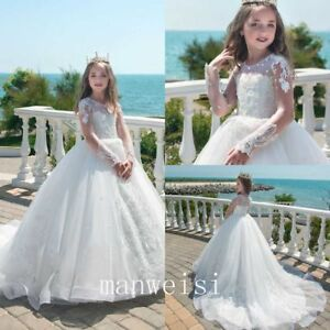 White Princess Flower Girl Dress Long Sleeve With Train Pageant