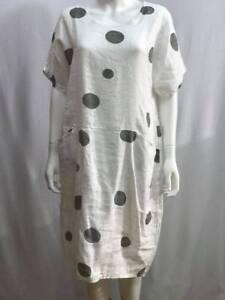 Nouveau Femme Plain Italien Lagenlook Quirky Long Boho Poche Lin Robe Tunique