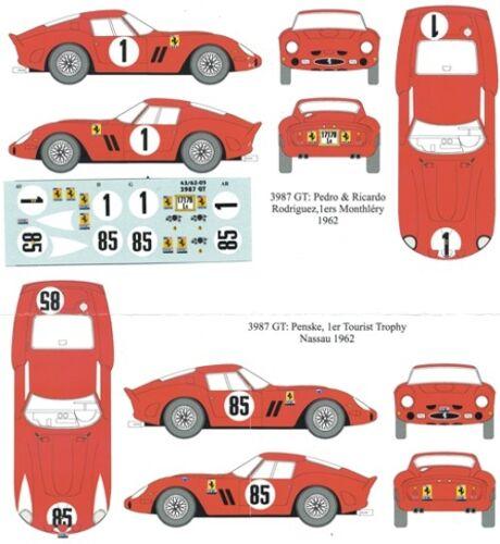 decal 1//43 FERRARI 250 GTO /'62 ch.3987GT MONTHLERY-NASSAU 62 RENAISSANCE DU286B