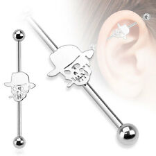 Surgical Steel Skull with Hat Cartilage Piercing Industrial Barbell 14G 1.5""