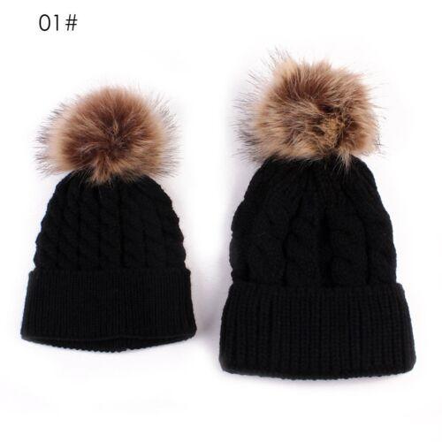 Mom/&Newborn Baby Boy Girls Winter Warm Double Fur Pom Bobble Knit Beanie Hat Cap