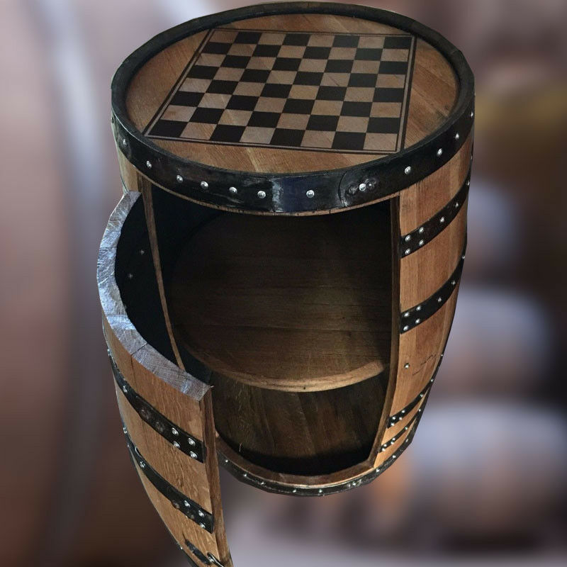 Naturel en Bois PUB BARIL BOISSONS Cabinet whisky vin avec Chess Board Table Top