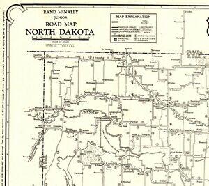 Details about 1927 Antique North Dakota State Map Poster Size North Dakota  Auto Road Map 2038