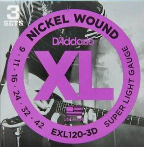 3-Set-D-039-Addario-EXL120-le-corde-per-chitarra-elettrica-9-42-super-leggero-exl120-3D