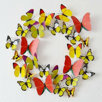 12PC DIY 3D Butterfly Wall Decals Stickers Home Decor Room Vinyl Art 9 Colors