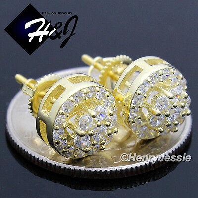 MEN WOMEN 925 STERLING SILVER ROUND 10MM LAB DIAMOND SCREW BACK STUD EARRING*E45