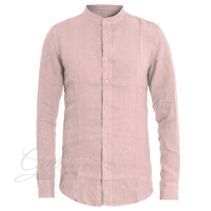 Camicia-Uomo-Collo-Coreano-Tinta-Unita-Rosa-Lino-Maniche-Lunghe-GIOSAL