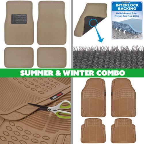 Carpet /& Rubber All Weather 8pc Premium Summer//Winter 2 Full Floor Mats Set