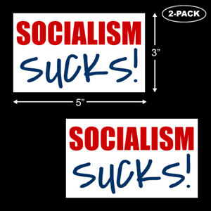 Socialism-Sucks-Bumper-Sticker-Vinyl-Decal-Trump-2020-Anti-Obama-Funny-2-PACK