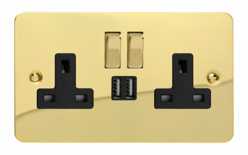 Varilight XFV5U2SDB Plat Laiton Poli 2 Gang Double 13 A prise de courant USB 2.1 A