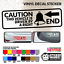 16 Colour /& 6 Size Choices Vinyl Decal Sticker Caution Driven by a Bell End