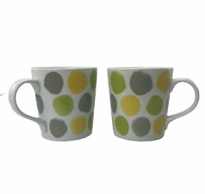Crate-amp-Barrel-Coffee-Green-Yellow-Gray-Painted-Polka-Dots-Offer-Mug-Lot-Of-Two
