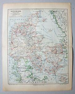 Dänemark und Schleswig - Alte Landkarte - Lithographie 1896