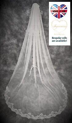 Premuroso Velo Da Sposa * Lunghezza Cattedrale * 1 Livelli * Off Bianco/avorio Pizzo Ampia Con Filo * *-mostra Il Titolo Originale