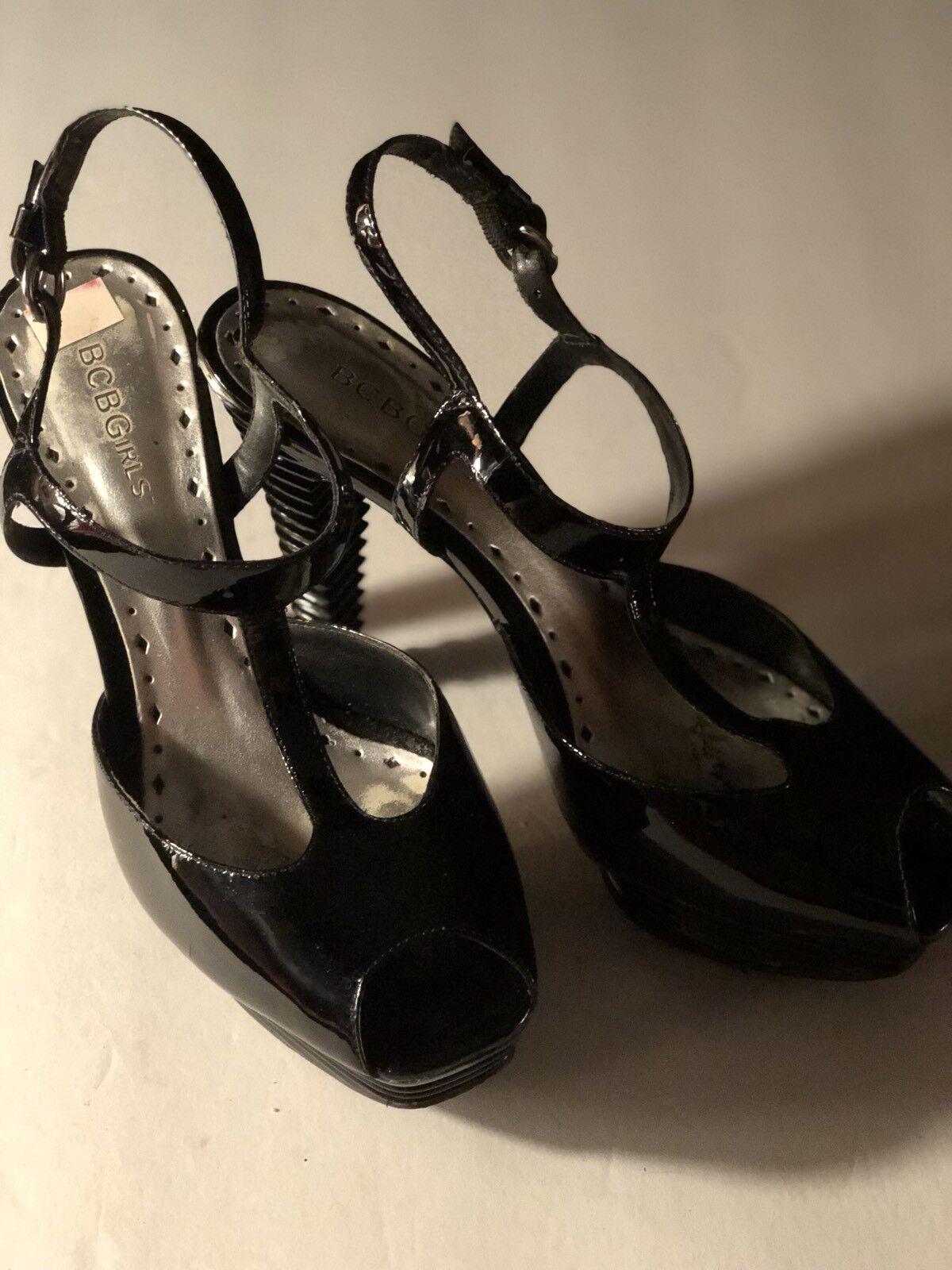 Bcbg Girl Gladiator T Strap Patent Leather Shiny Heels shoes 8.5