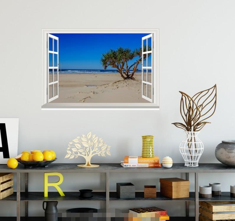 3D Tree Beach 657 Open Windows WallPaper Murals Wall Print Decal Deco AJ Summer