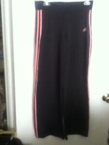 Yoga-Adidas-Pants-Athletic-Sport-Black-Hot-Pink-Stripe-Poly-Spandex-Jog-Work-M