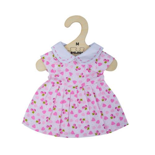 Peluche Giocattolo 30cm BIGJIGS Toys Vestito ROSA CON CUORI ROSA per medie Bambola di pezza