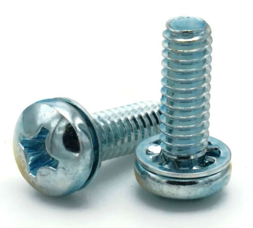 Length+QTY SEMS Screws #10-24 Phillips Pan Head Internal Tooth Lock Washer Zinc