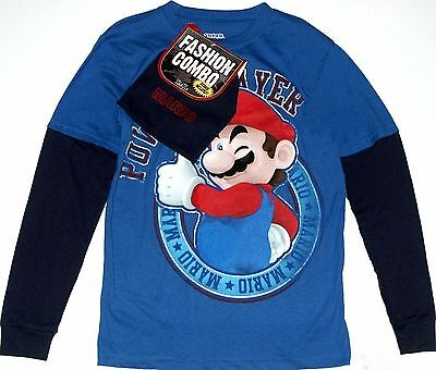Super Mario Blue Long Sleeve t-Shirt 4-5 XS 6-7 S 8 M 14-16 XL Child with Beanie