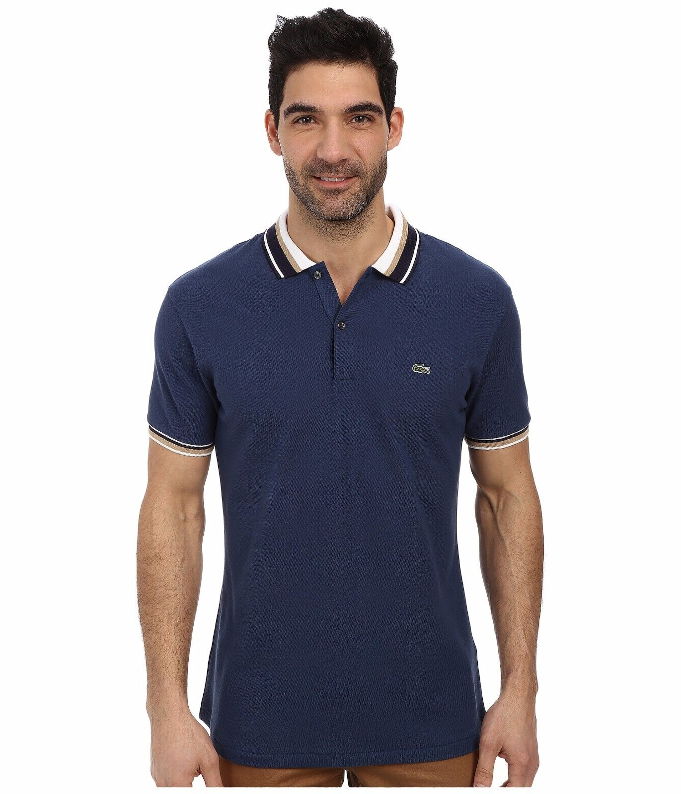 Lacoste Slim Fit Pique Polo with Neo-Piping
