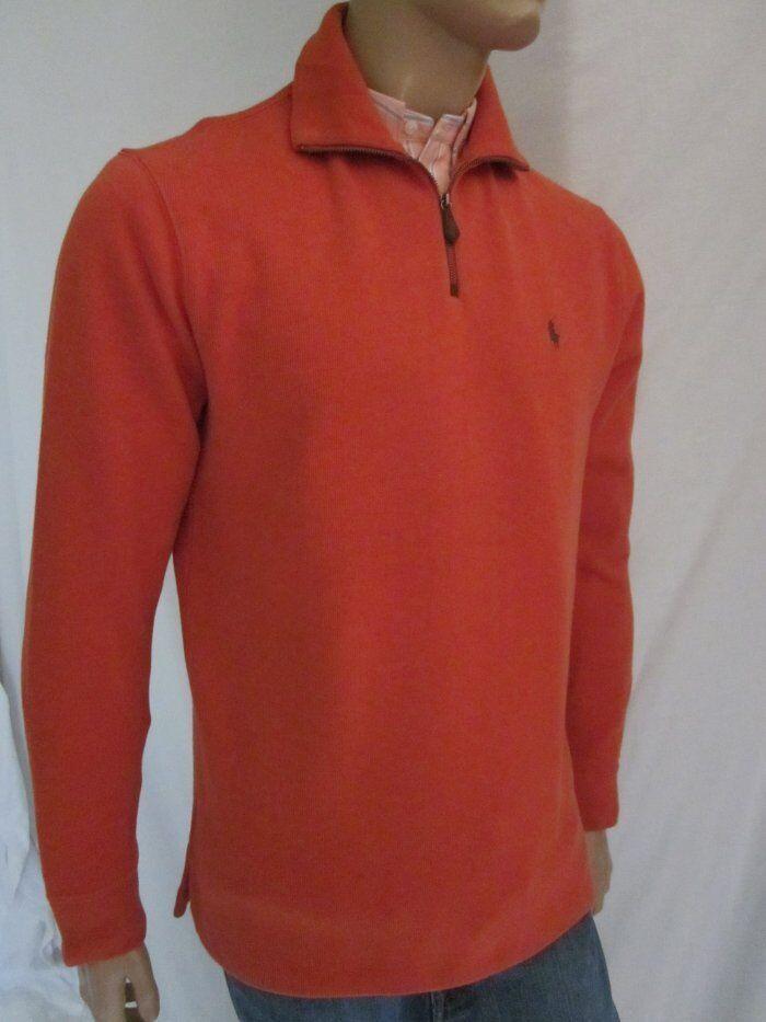Polo Ralph Lauren Orange 1/2 Half Zip Sweatshirt Grün Pony NWT Small S