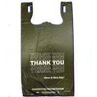 Black T-shirt Thank You Plastic Grocery Store Shopping Carry Out Bag 800 Pieces