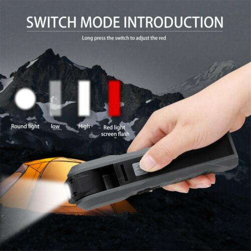 USB Rechargeable COB LED Work Light Lamp Foldable Magnetic Camping Flashlight